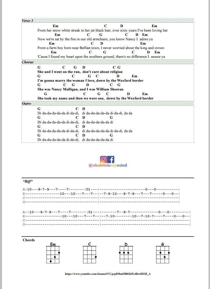 Nancy Mulligan Ed Sheeran Ukulele Chords Riff Page 2 Tutorial On