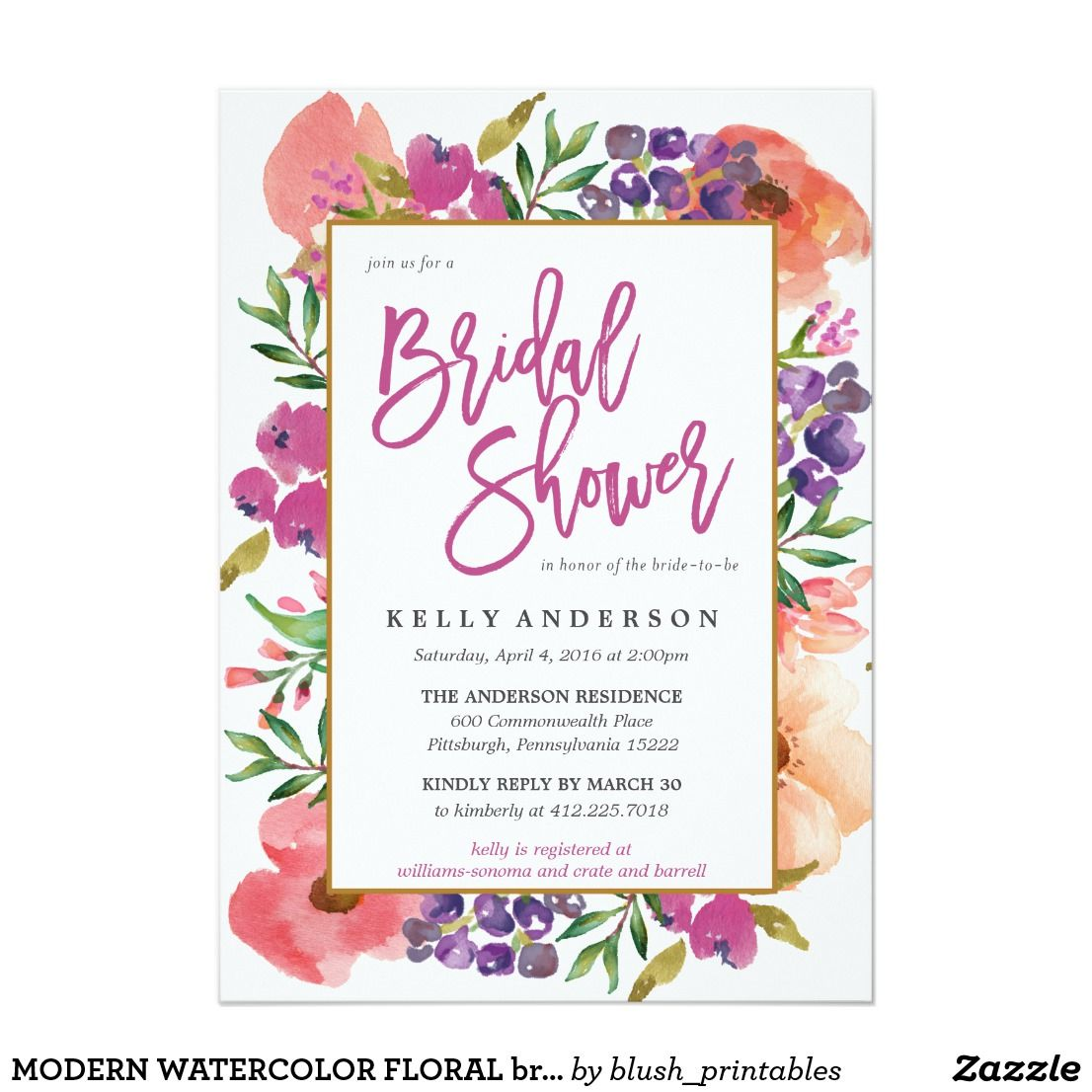 modern watercolor floral bridal shower invitation fun wedding invites customize these invitations for your weddings invitations invites weddings