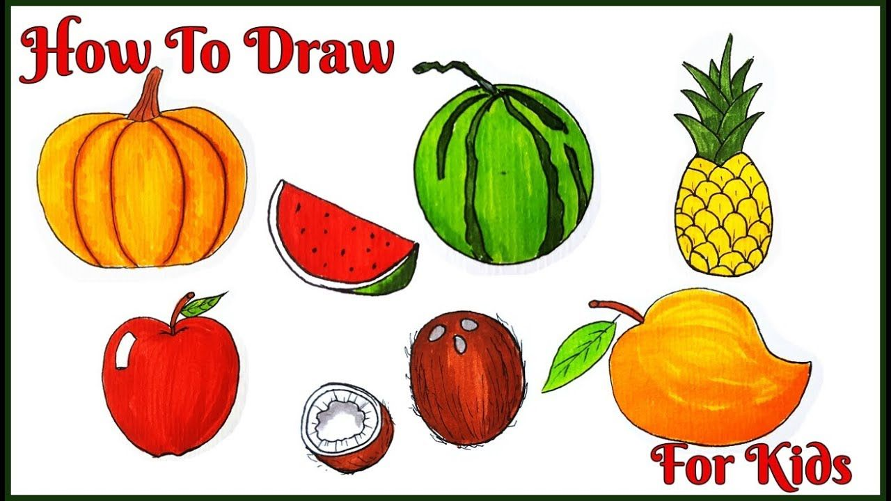 How To Draw Fruits For Kids How To Draw An Apple Easy How To Draw