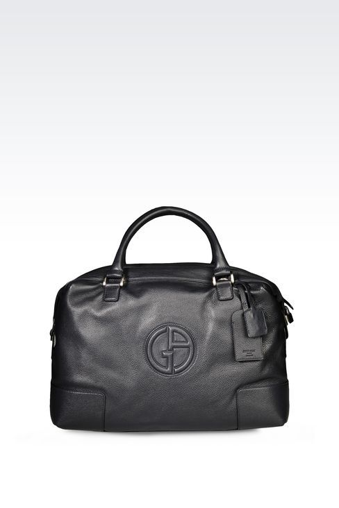 ff2be3ed8fb7 Giorgio Armani Men Travel Bag - WEEKEND BAG IN TUMBLED LEATHER WITH LOGO  Giorgio Armani Official Online Store