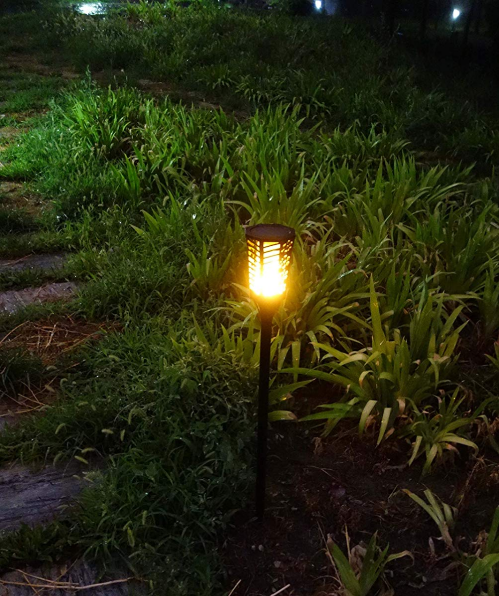 Steadydoggie Solar Torch Landscaping Light Kit 4 Pack Solar Tiki Torch Landscape Lighting Kits Torch Light