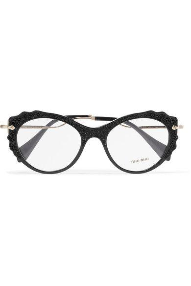 0d839d70ef MIU MIU Cat-eye embellished acetate and gold-tone optical glasses.  miumiu   opticals