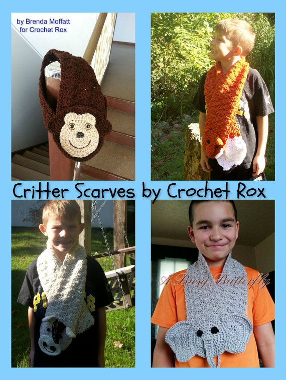 Crochet Patterns Critter Scarves Pattern Pack Horse Monkey