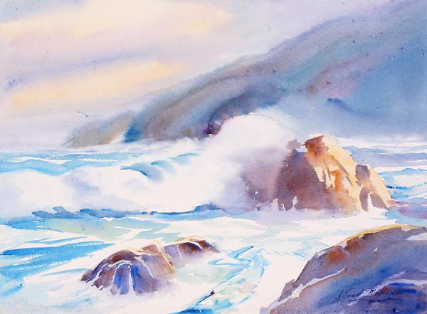 Southerly Storm Seascape Paintings Beach Watercolor Seascape Art