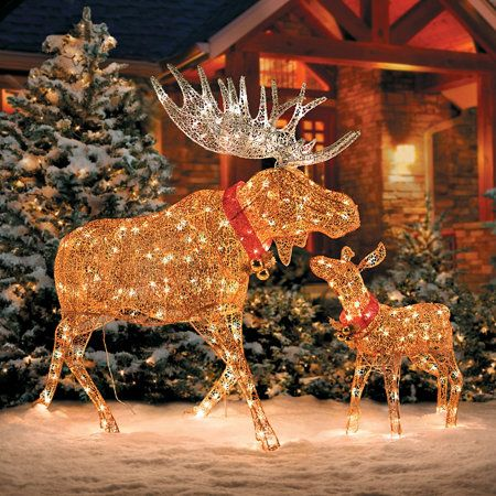 lighted glittering moose outdoor christmas decoration - Outdoor Moose Christmas Decorations