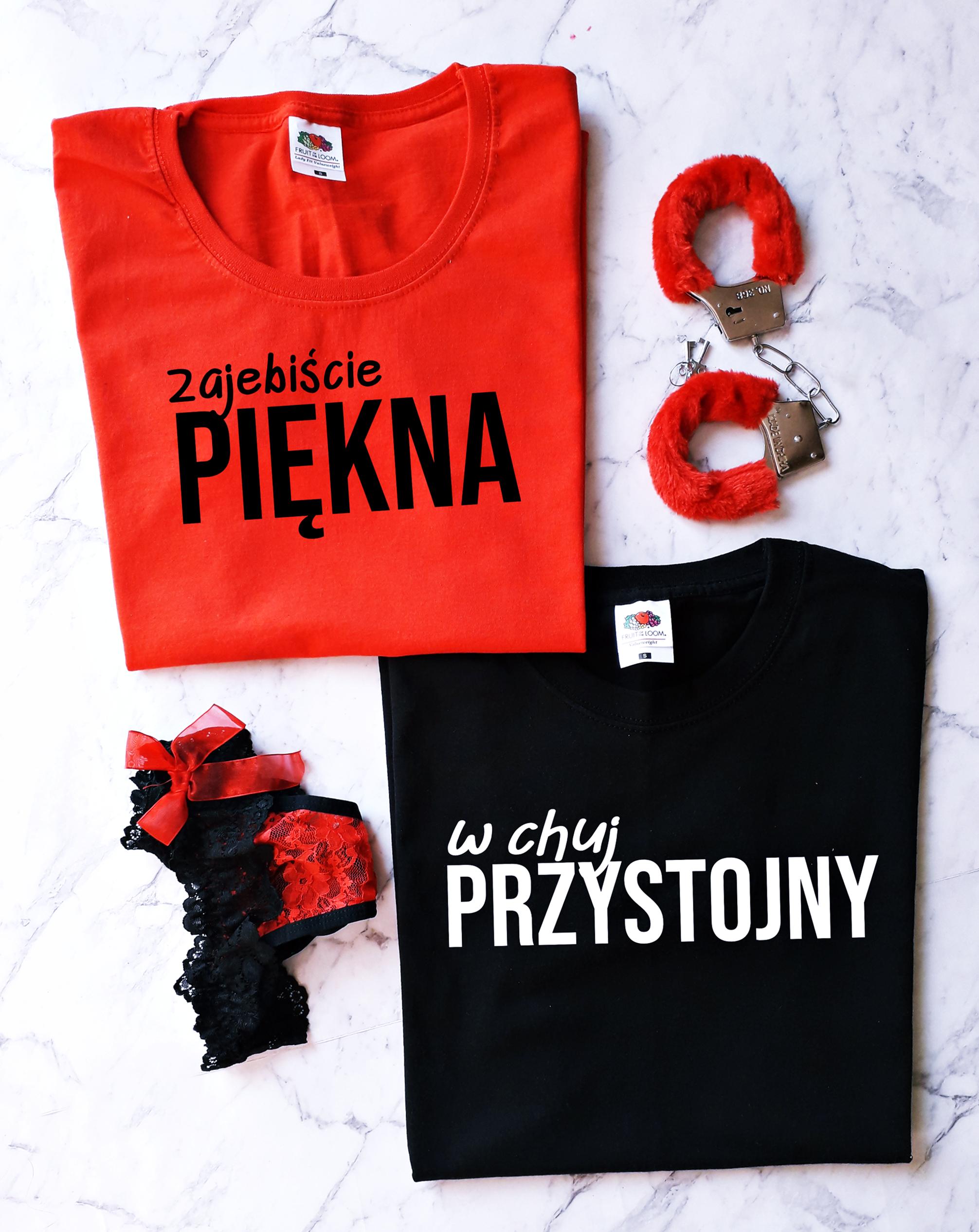 Koszulka Damska Zajebiscie Piekna Dla Par Zakochanych Dla Niej Walentynki Z Nadrukiem Fashion Tops Women S Top