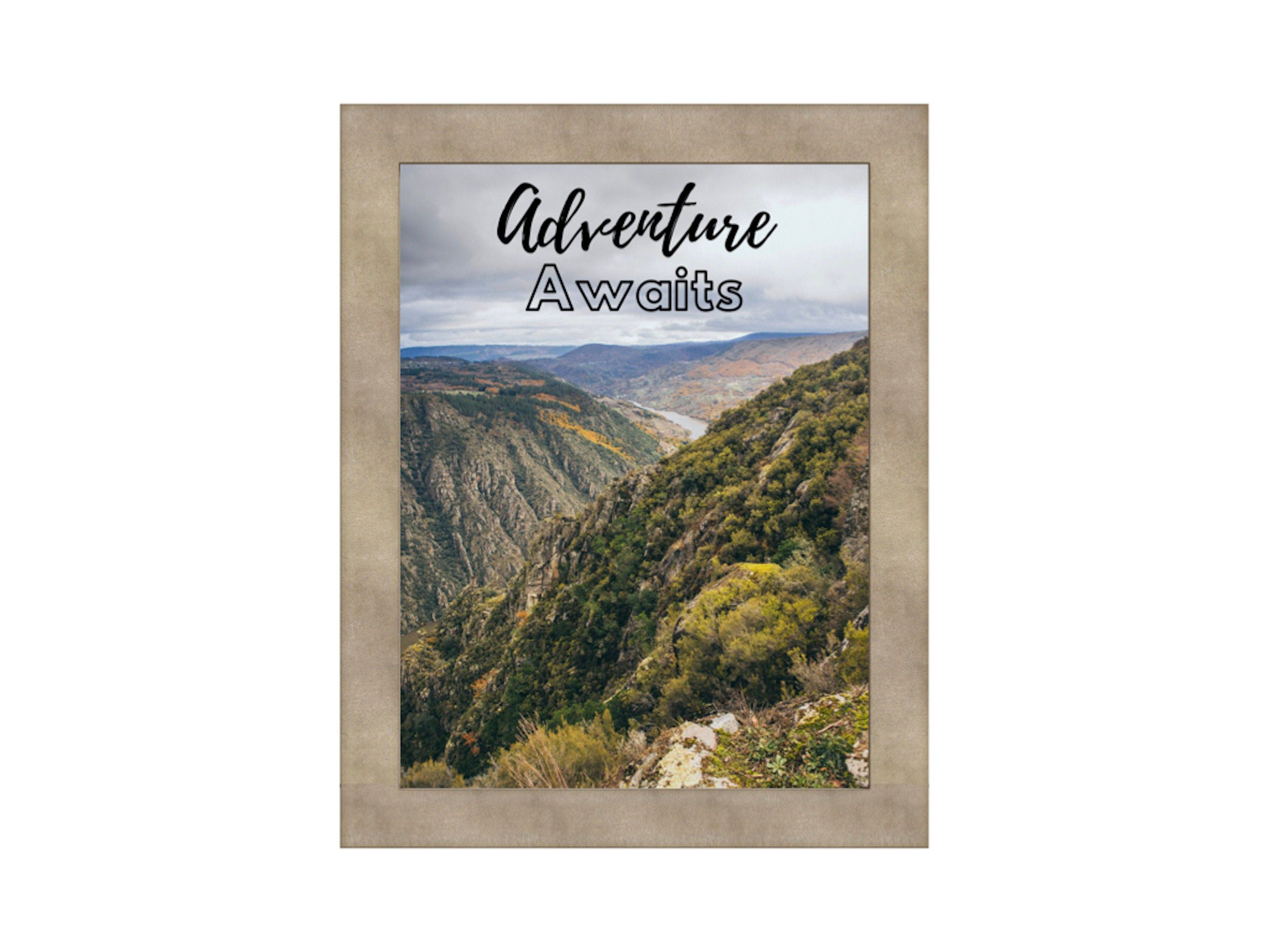 Photo of Adventure Awaits Wall Art, mountain landscape photography, quote print, printable art, sign