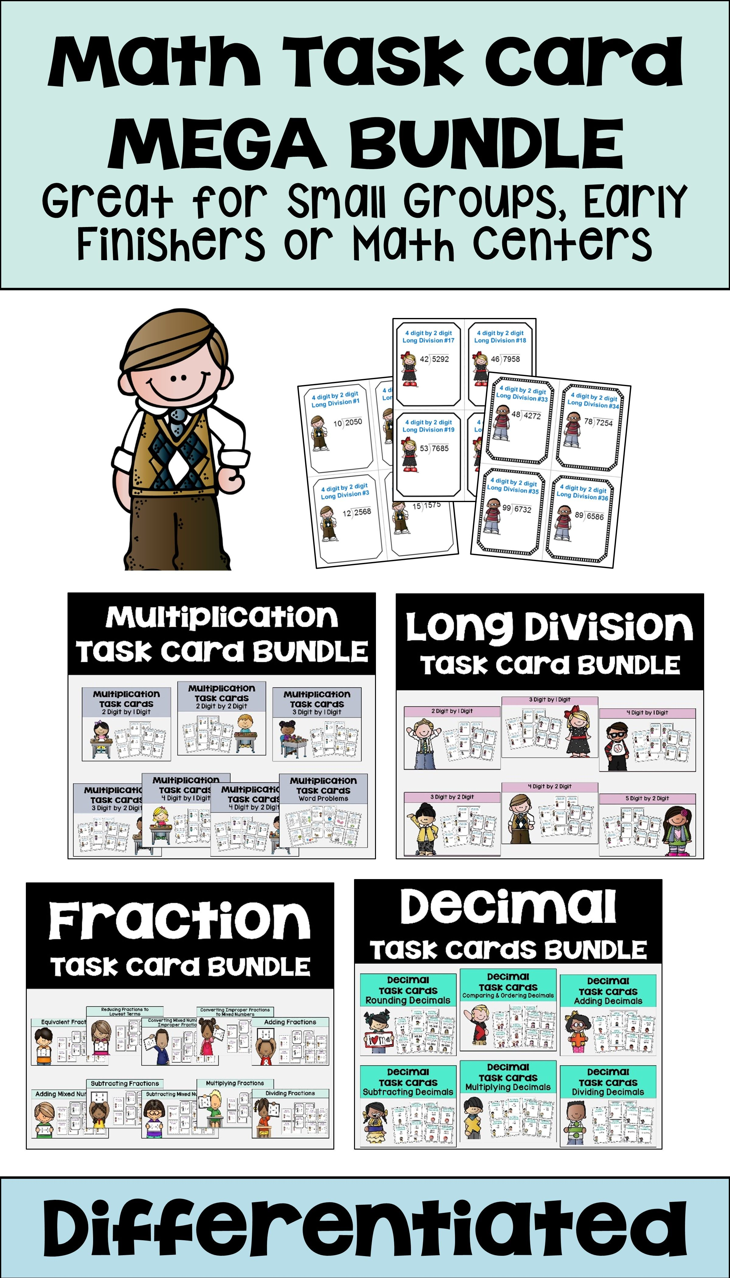 Math Task Card Bundle With Decimals Fractions Long