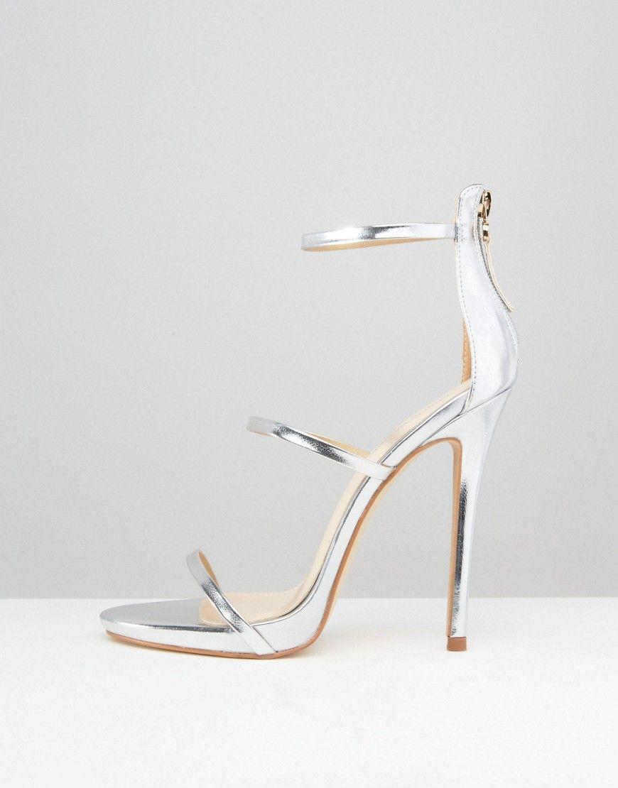 f5831c70f9b Public Desire Aisha Strappy Silver Heeled Sandals - Silver | Heels ...