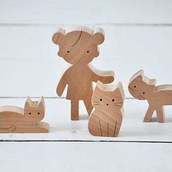 Wooden Girl And Cats, £25, Sarah & Bendrix