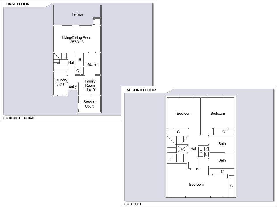 CFA Yokosuka – fgo Townhouses: 3 bedroom townhome floor plan.