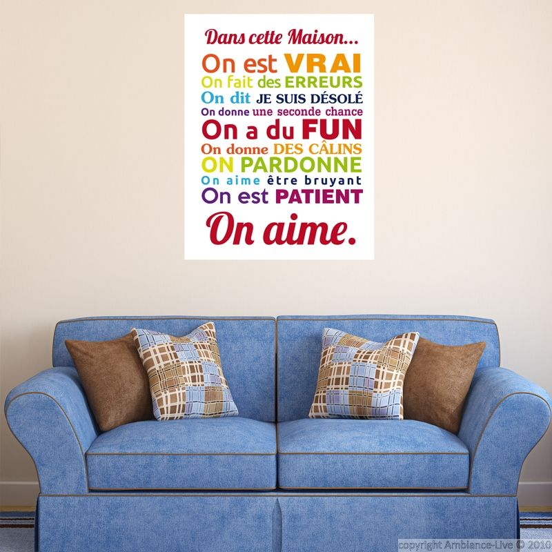 Sticker poster dans cette maison multicolore - stickers Citations - stickers dans cette maison