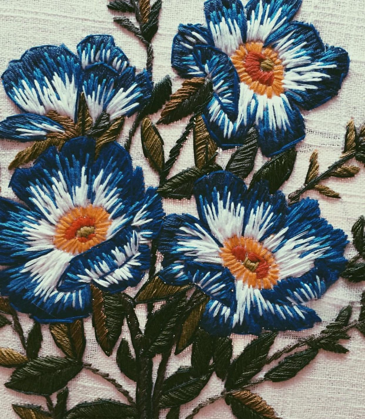 Flower embroidery by artist I found on Instagram tessa perlow Fiber Art