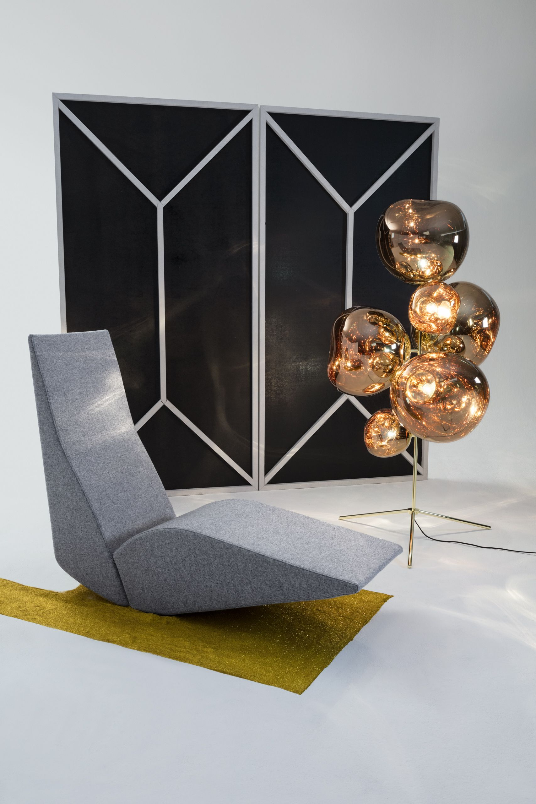 Bird Chaise With Melt Standing Chandelier 15 Off All Tom Dixon Lighting Furniture And Accessories Now Thru Oc Tom Dixon Chandelier Floor Lamp Tom Dixon Melt