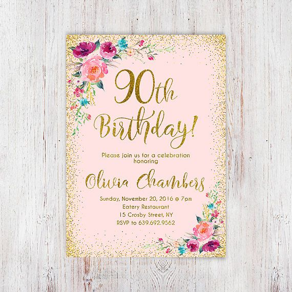 Any Age Women Birthday Invitation 90th