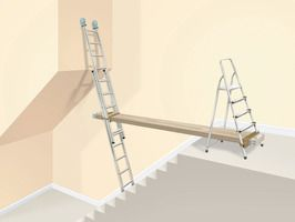 How To Set Up Ladders As Scaffolding And Renting Access Equipment Diy Basement Ladder Scaffolding