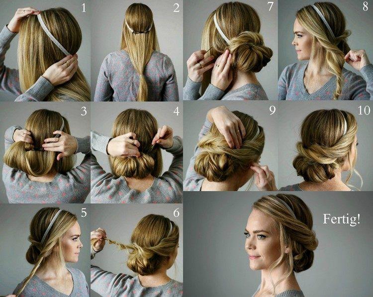 Lockerer Chignon Mit Haarband Und Haarklammern Selber Machen Haarband Frisur Anleitung Frisur Hochgesteckt Hochsteckfrisuren Lange Haare