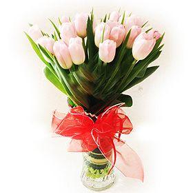 Malaysia Flowers Vase Arrangment Of Tulips Valentine Gift
