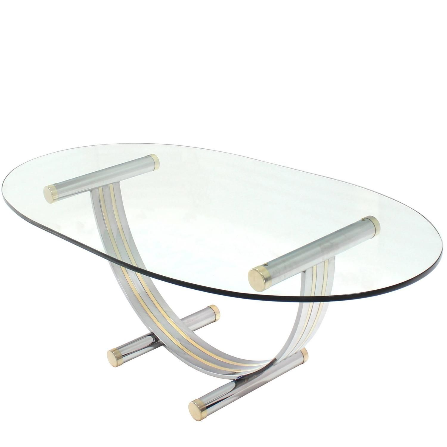 Large Oval Glass Brass Chrome Dining Conference Table MidCentury - Large oval conference table