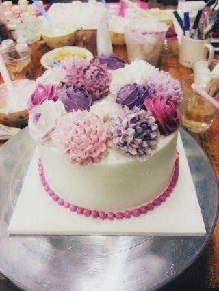 Korean Cake! | Happy Bday ^^ | Buttercream decorating, Buttercream ...