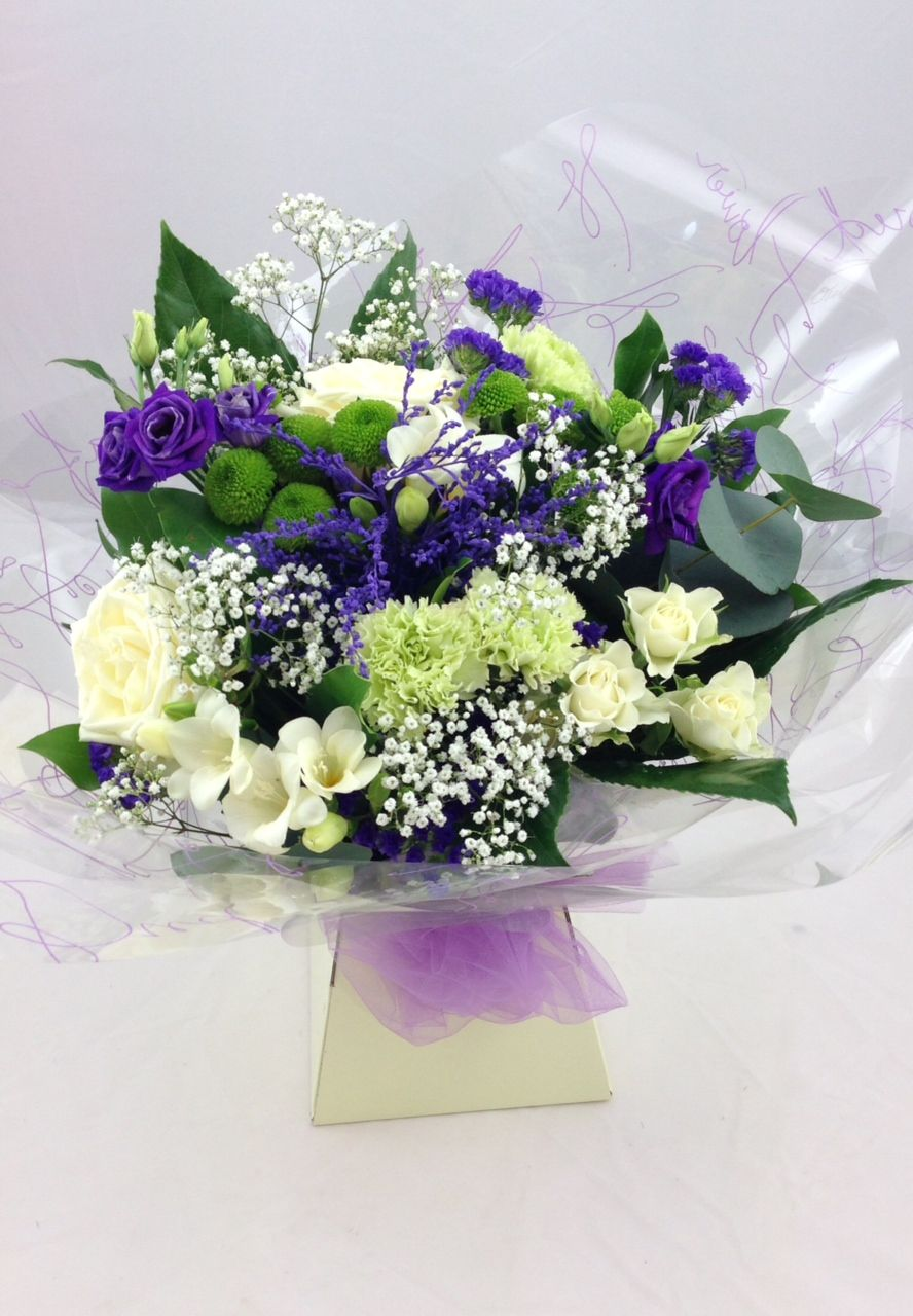 Hand tied bouquet flower arrangement white rose spray hand tied bouquet flower arrangement white rose spray chrysanthemum statice izmirmasajfo