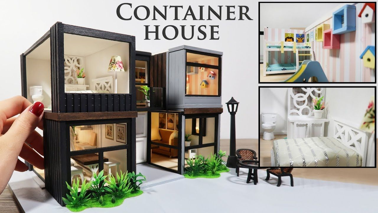 Diy Miniature Modern Container House Youtube Container House Diy Dollhouse Furniture Miniatures