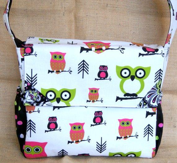 Hot Pink And Green Owl Diaper Bag Messenger
