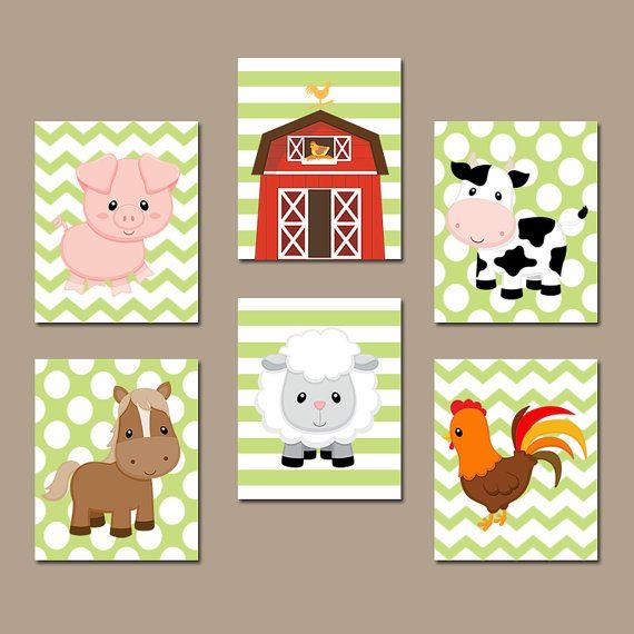 Baby boy room plantation farm farm animals wall art canvas or prints country baby boy nursery - Baby jungenzimmer ...