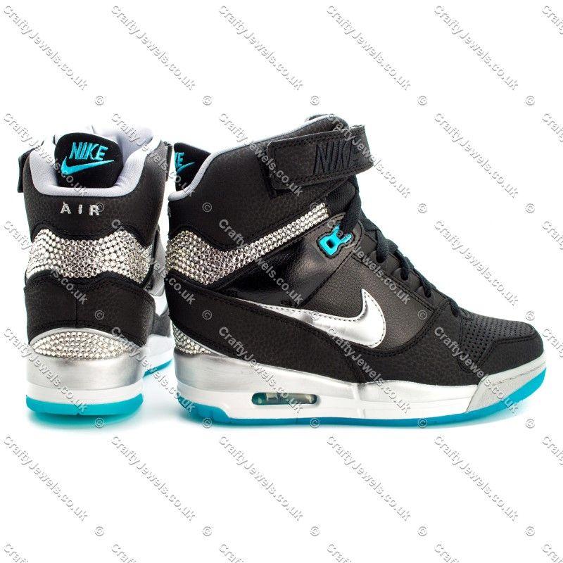 Crystal Nike Air Revolution Sky Hi in Black  amp  Blue with Swarovski or  Diamante Crystals 5ee9c5eff