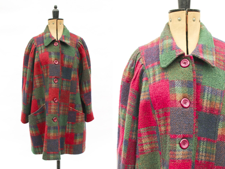 Vintage Coat • Wool Coat • Plaid Coat • 50s Style Coat