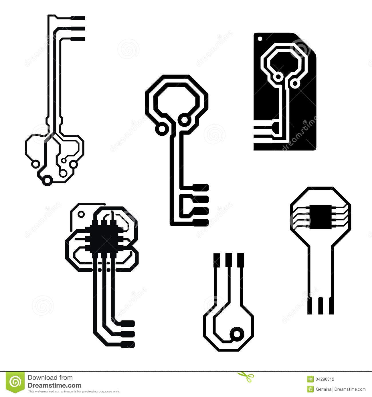 photo about vector circuit board keys for data security icons