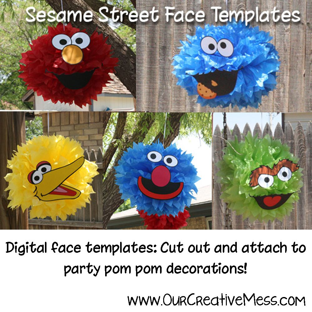 This listing is for five sesame street face templates elmo this listing is for five sesame street face templates elmo grouch grover big bird and cookie monster that you can cut out and attach to a pompom that pronofoot35fo Choice Image