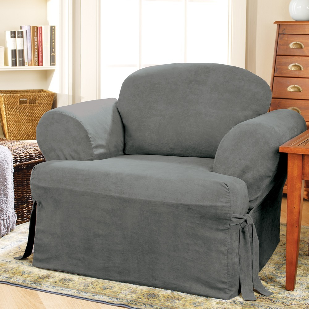 Soft Suede Tchair Slipcover Smoke Blue Sure Fit