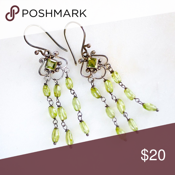 Silver and peridot chandelier earrings peridot stone chandelier silver and peridot chandelier earrings mozeypictures Choice Image