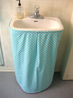 At Home With Crab Apple Designs Tutorial How To Make A Sink Skirt Sink Skirt Bathroom Sink Skirt Sink