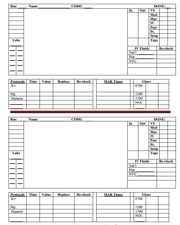 Nurse Brain Sheets Hour Day And Night Rotation Nurse Brain