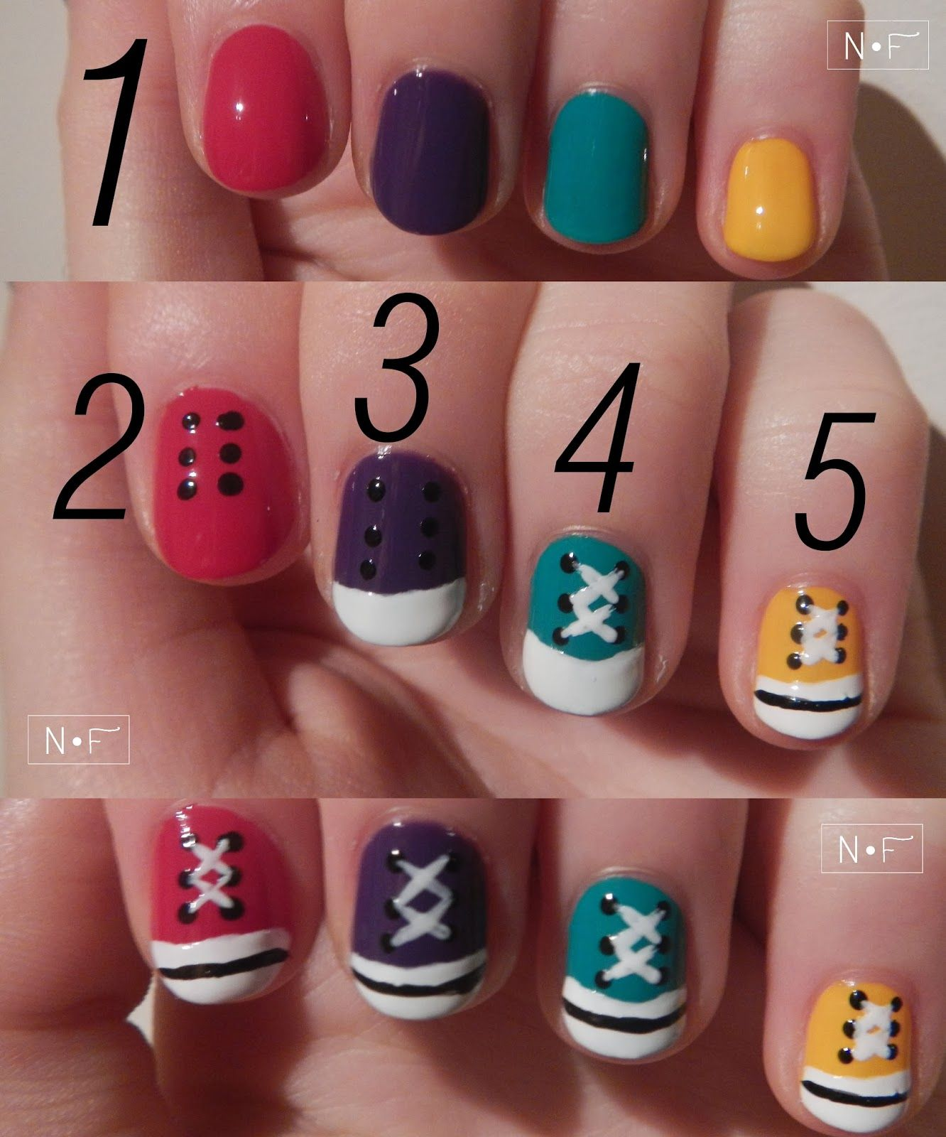 Nerdy u Fleurty All stars nail art tutorial makeup Pinterest
