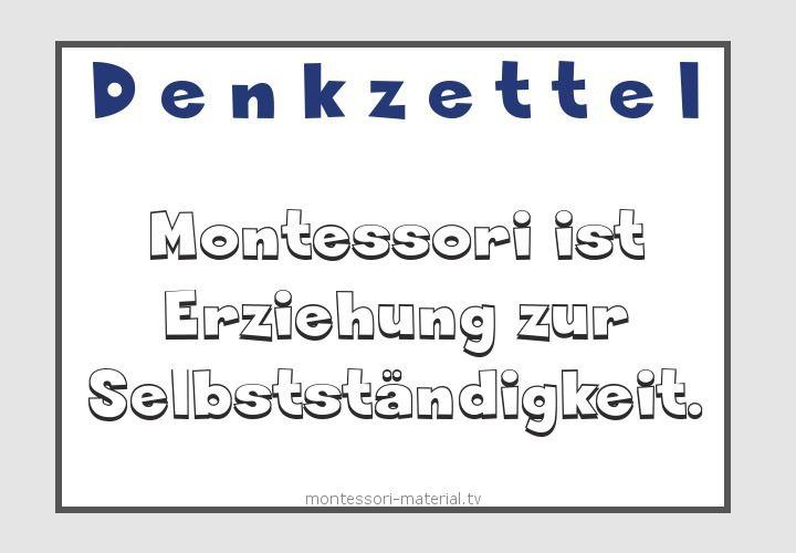 Montessori ist Erziehung zur Selbstständigkeit. | Zitate ...