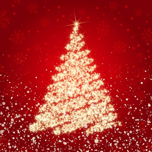Christmas red background with golden sparkly tree Free Vector