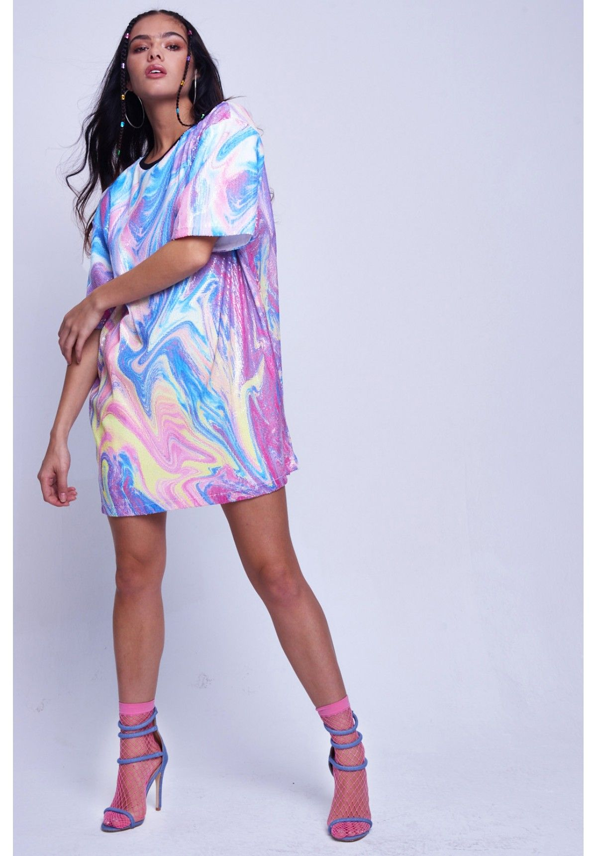 164192a7b9 Marble Sequin Oversized T-shirt Dress