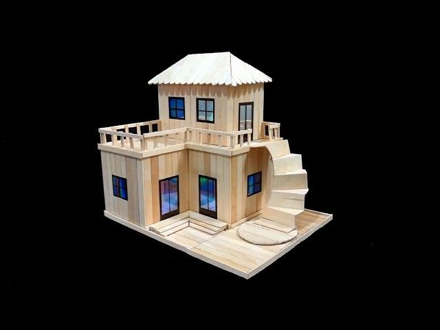 How To Make A Wonderful House At Home Using Popsicle Sticks In 2020 Popsicle Stick Crafts House Popsicle House Popsicle Sticks