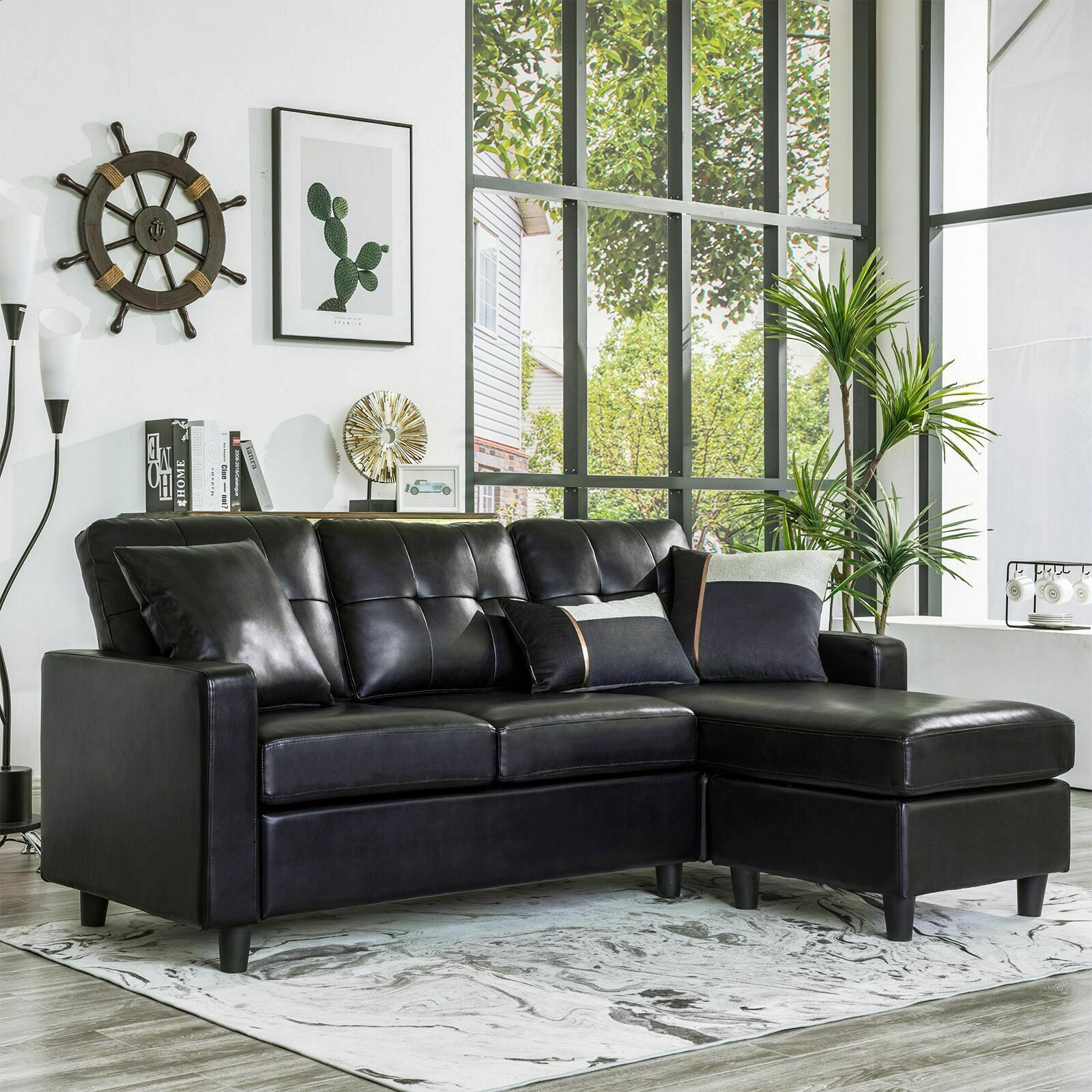 Black Faux Leather Sectional Sofa L Shaped Couch W Reversible Chaise Small Space Sofas Living Room Ideas Of Sofas Li In 2020 Living Room Sofa Sofas For Small Spaces