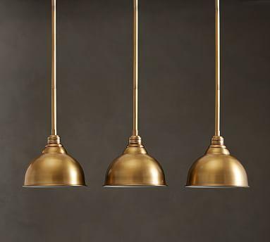 PB Classic Light Metal Bell Pendant Hood Brass Pole Kit Small - Light pendants sale