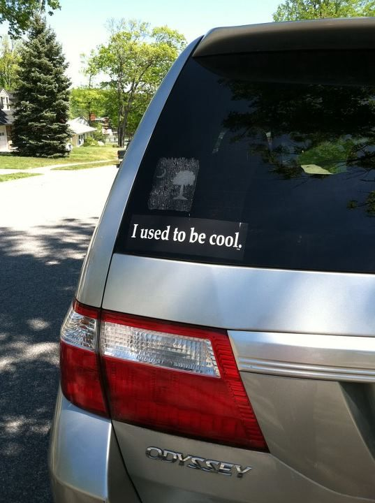 This bumper sticker for minivan driving parents is cold comfort
