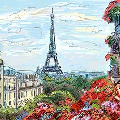 Paris Painting Original Watercolor Cityscape Montmartre Painting