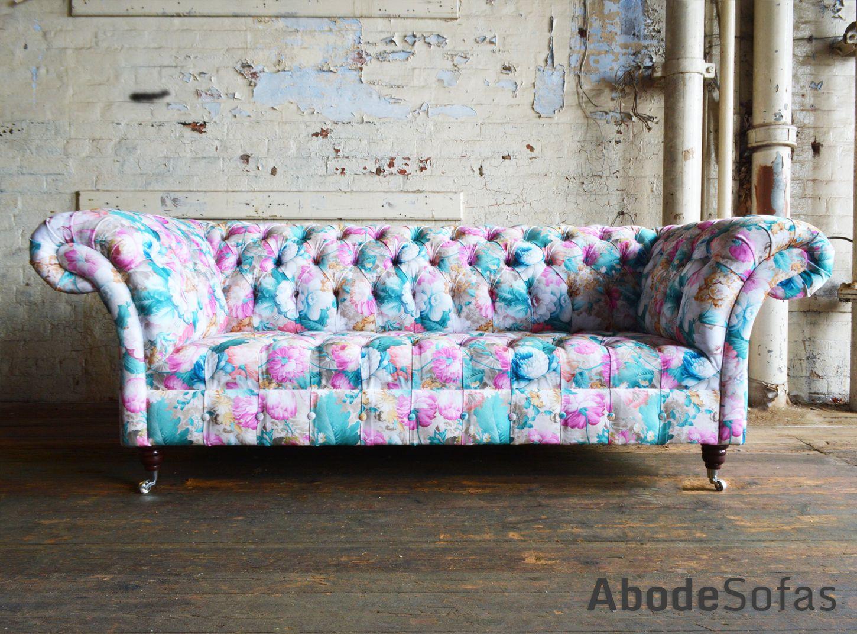 Botanical Fl Velvet Chesterfield Sofa Exclusive Printed Abode Sofas