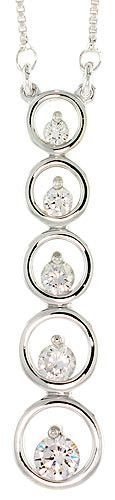 """Sterling Silver Graduated Journey Pendant w/ 5 High Quality CZ Stones, 1 7/8"""" (48 mm) tall"""
