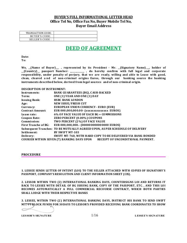 BUYERu0027S FULL INFORMATIONAL LETTER HEAD Office Tel No, Office Fax - letter of intent contract