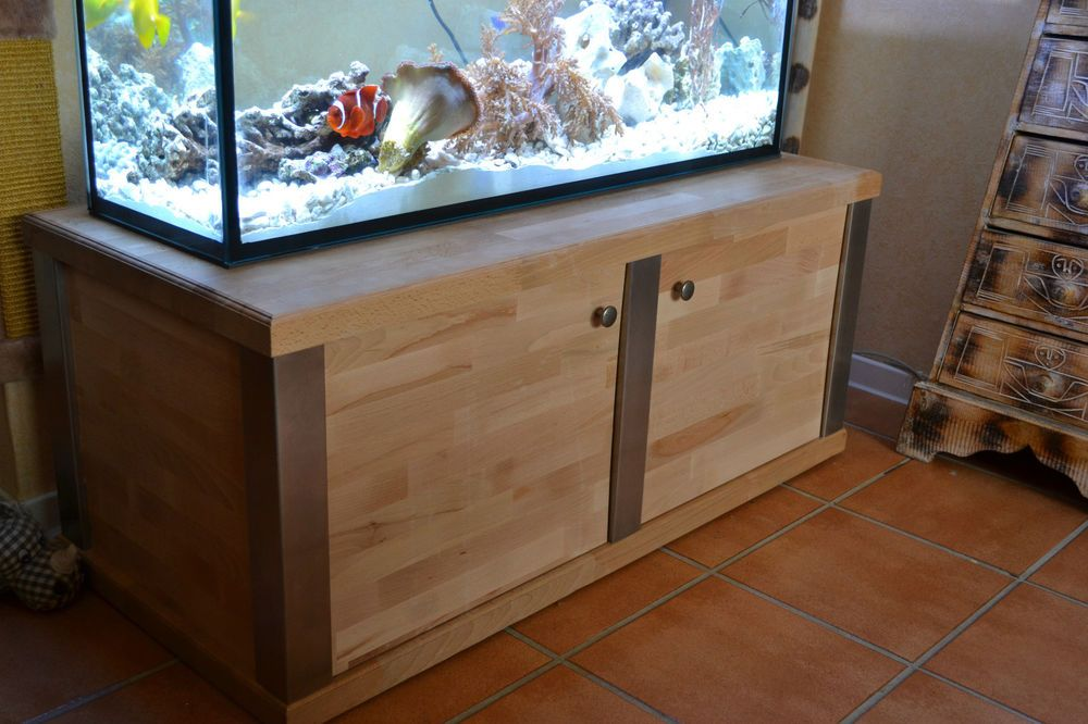 aquarium unterschrank aus edelstahl und holz aquarien fish tank reef tank. Black Bedroom Furniture Sets. Home Design Ideas