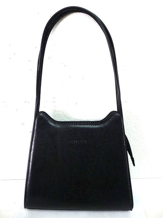77e81f09319 Vintage GUCCI Black Leather Shoulder Bag made by KMalinkaVintage ...